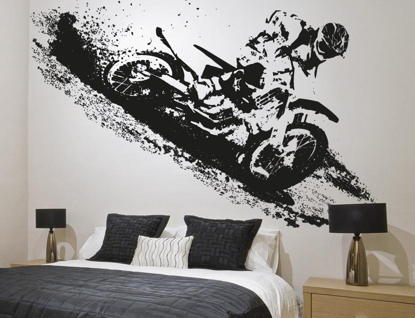 Mai pi senza la moto in camera da letto for Adesivi da attaccare al muro