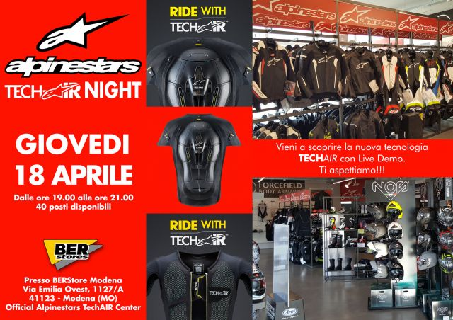 Alpinestars, Tech Air Night giovedì 18 al BER Store di Modena