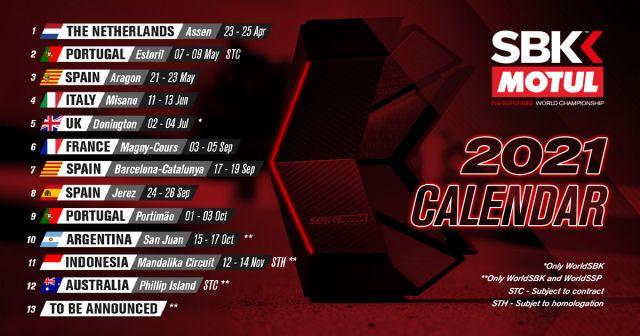 Campionato Mondiale Superbike 2021 Calendario SBK 2021, ecco il calendario della Superbike